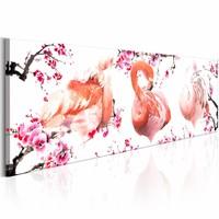Schilderij - Schoonheid van Flamingo's , roze wit