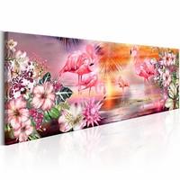 Schilderij - Land van de Flamingo's  , roze oranje