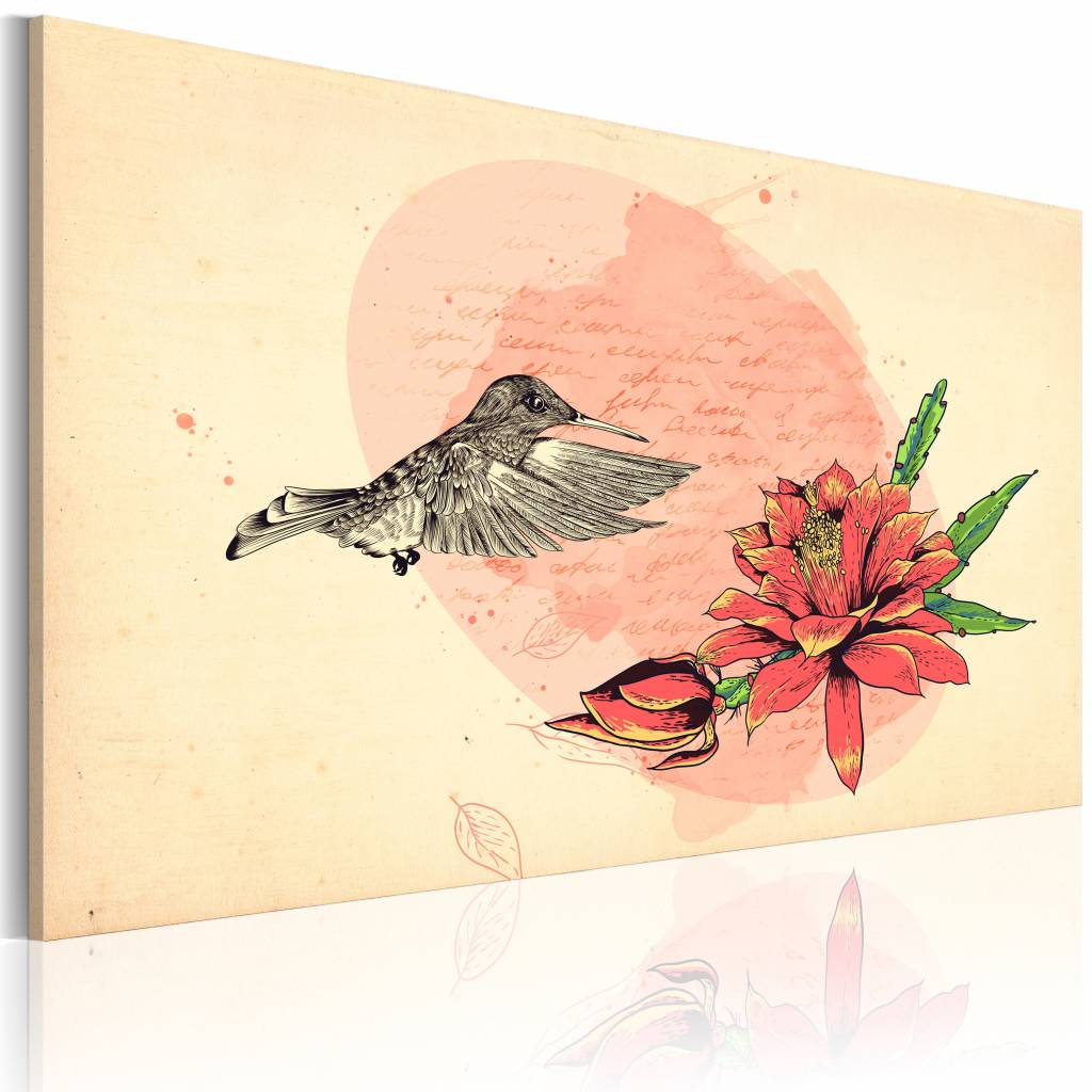 Schilderij Eerste vlucht, kolibrie, 1deel, 2 maten, roze/beige