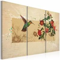 Schilderij - Kolibrie en Rozen,  3luik