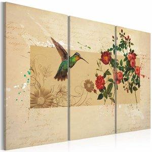 Schilderij - Kolibrie en Rozen, Bruin, 3luik
