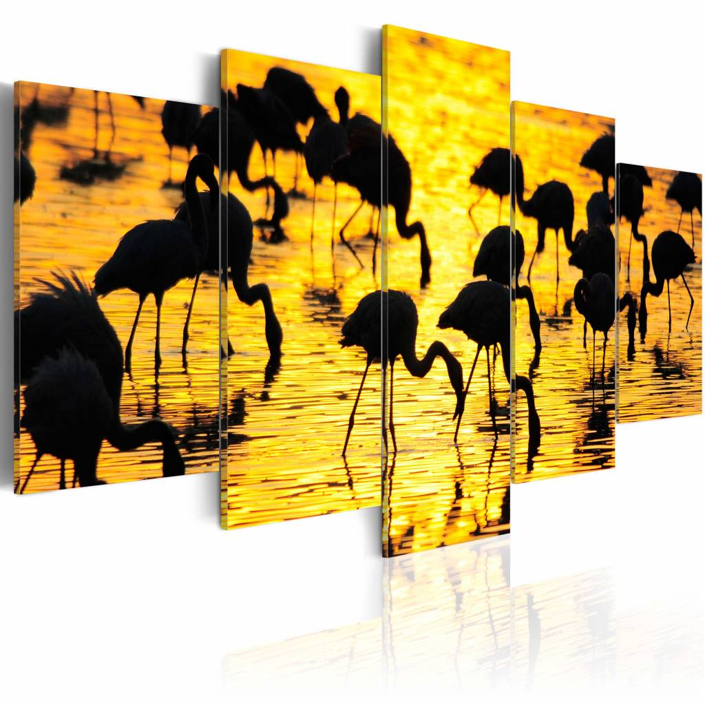 Schilderij - Flamingo's bij de zee, geel/zwart, 5luik, 2 maten