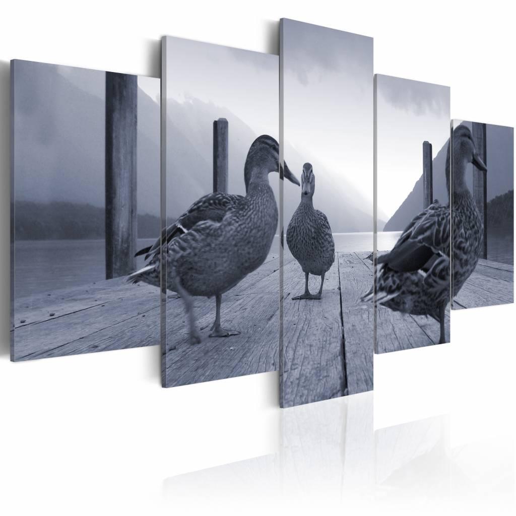 Schilderij Eenden op de pier, zwart/wit, 3luik, 2 maten