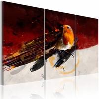 Schilderij - Klein vogeltje op een rood-wit achtergrond, rood/oranje, 3luik, 2 maten