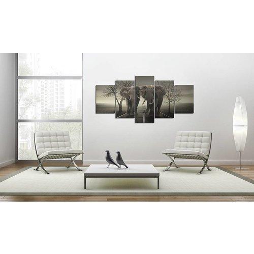 Schilderij - 2 Olifanten, Grijs, 5luik