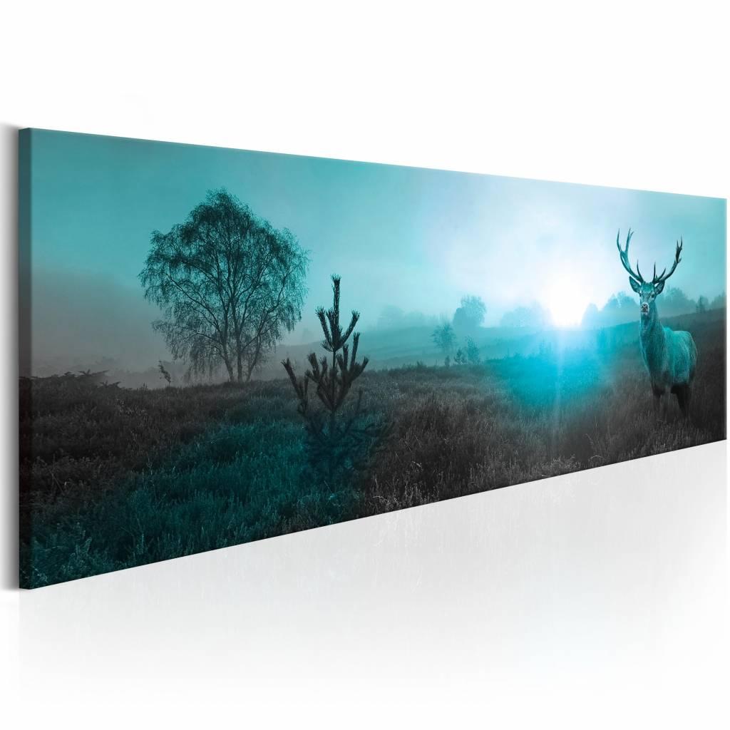 Schilderij - Hert in het blauw , 1 luik , 3 maten
