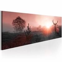 Canvas Schilderij - In de Horizon  , roze bruin , 1 luik , 3 maten