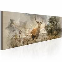 Schilderij - Hert in Waterkleur  , grijs bruin , mist