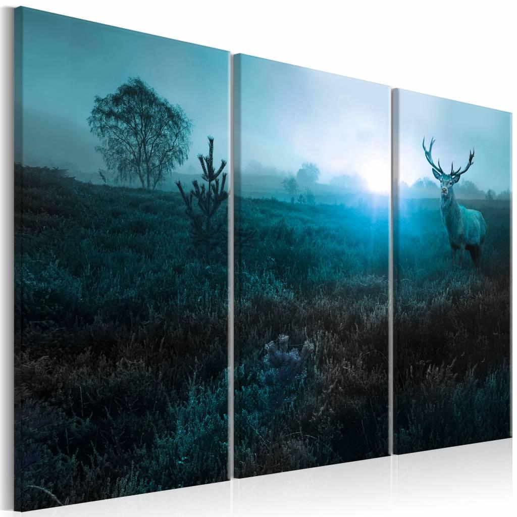 Schilderij - Hert in het blauw , 3 luik , 2 maten
