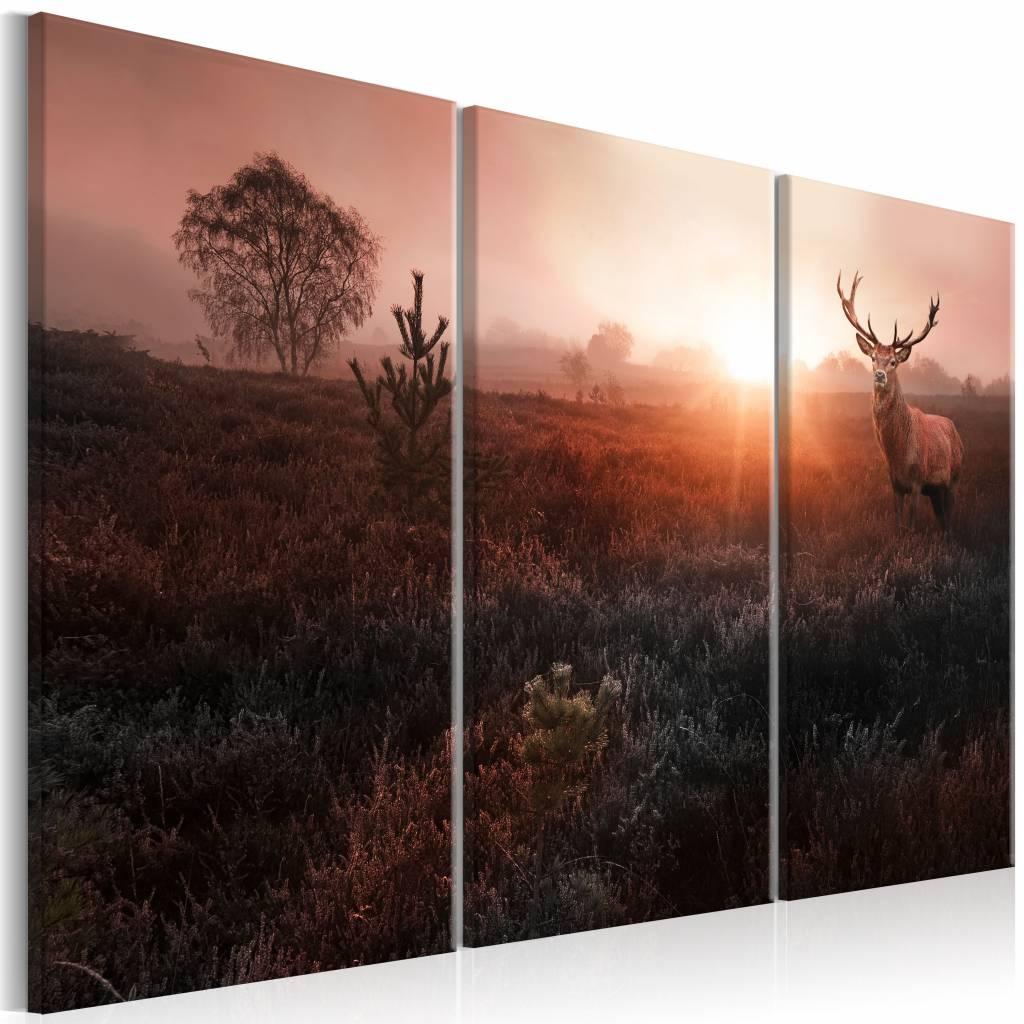 Schilderij - In de Horizon , roze bruin , 3 luik , 2 maten