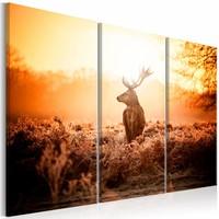 Schilderij - Hert voor Zonsondergang  , 3 luik , oranje bruin