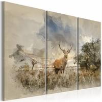 Schilderij - Hert in Waterkleur  ,  3 luik