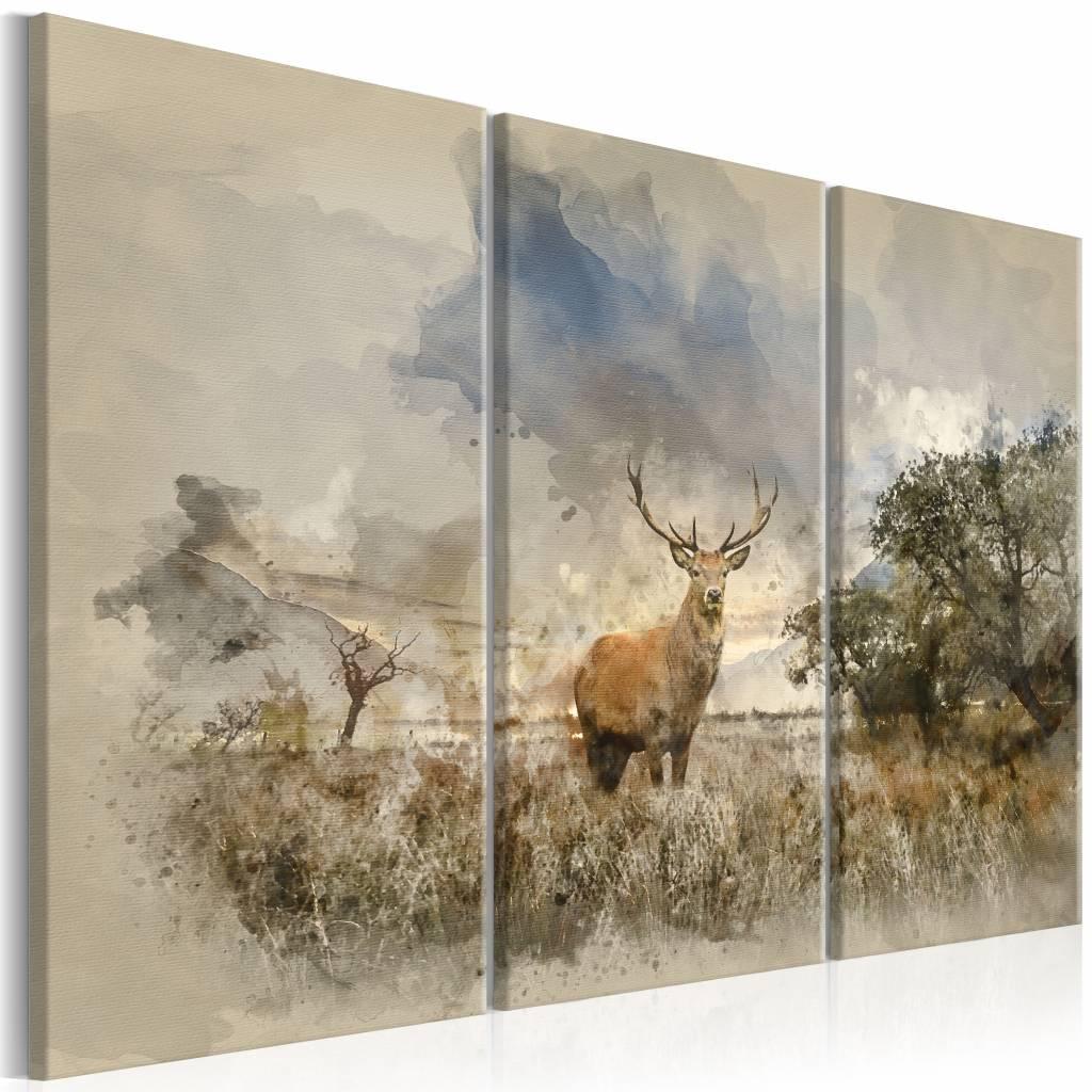 Schilderij - Hert in Waterkleur , 3 luik , bruin blauw , 2 luik