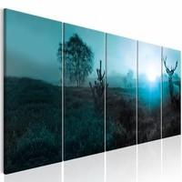 Schilderij - Hert in het blauw ,  5 luik , 2 maten