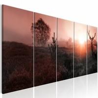 Schilderij - In de Horizon , Hert , roze bruin , 5 luik