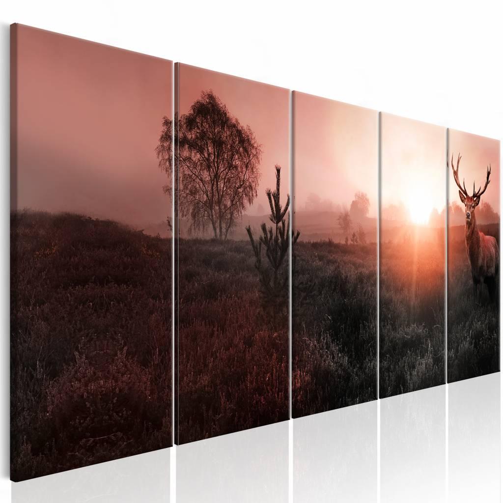 Schilderij - In de Horizon , roze bruin , 5 luik , 2 maten