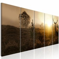 Schilderij - Hert in de Ochtend  , beige , 5 luik