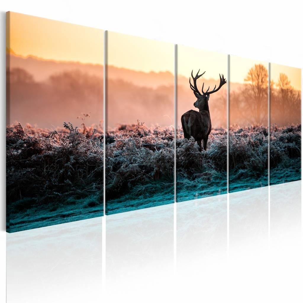 Schilderij - Hert voor Zonsopkomst , geel bruin , 5 luik , 2 maten