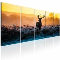 Schilderij - Hert in de Winter , geel bruin , 5 luik
