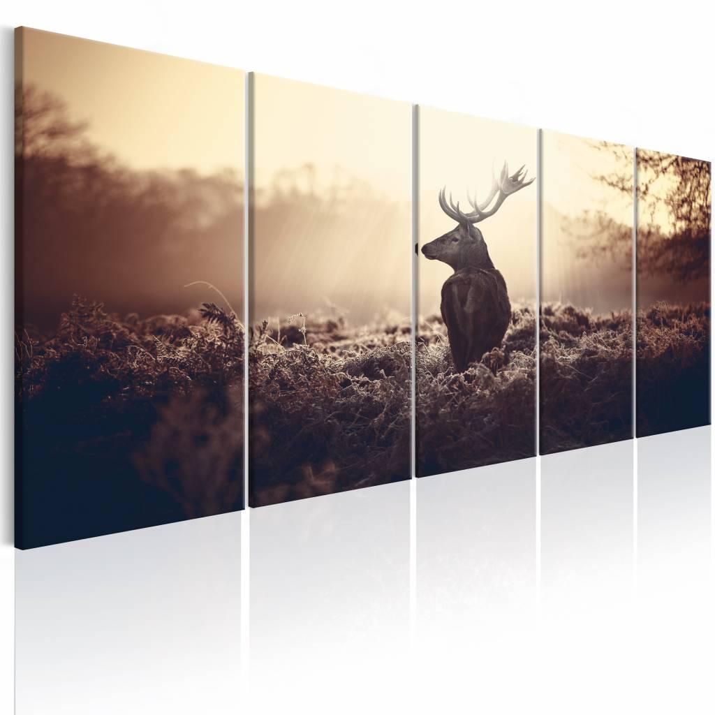 Schilderij - Hert in het Wild ,beige , 5 luik , 2 maten