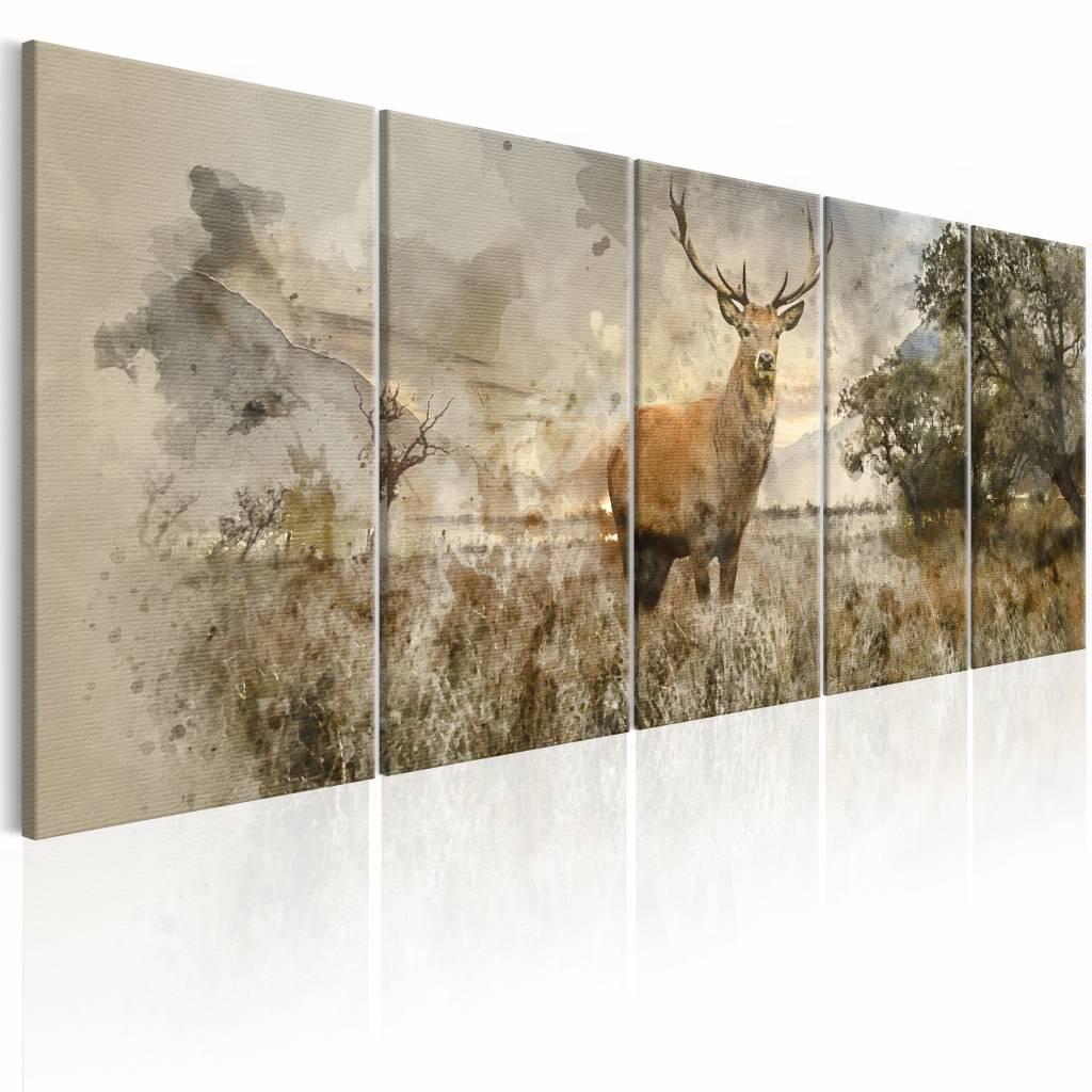 Schilderij - Hert in Waterkleur , 5 luik , bos , mist