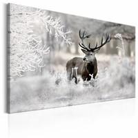 Schilderij - Eenzaam Hert , wit bruin