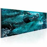 Schilderij - Blauwe Krokodil 150X50cm ,  blauw , 1 luik