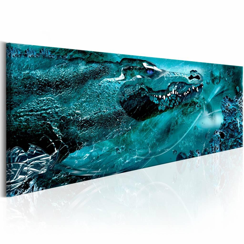 Schilderij - Blauwe Krokodil 150X50 , blauw , 1 luik