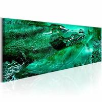 Schilderij - Groene Krokodil 150X50 , 1 luik ,  groen