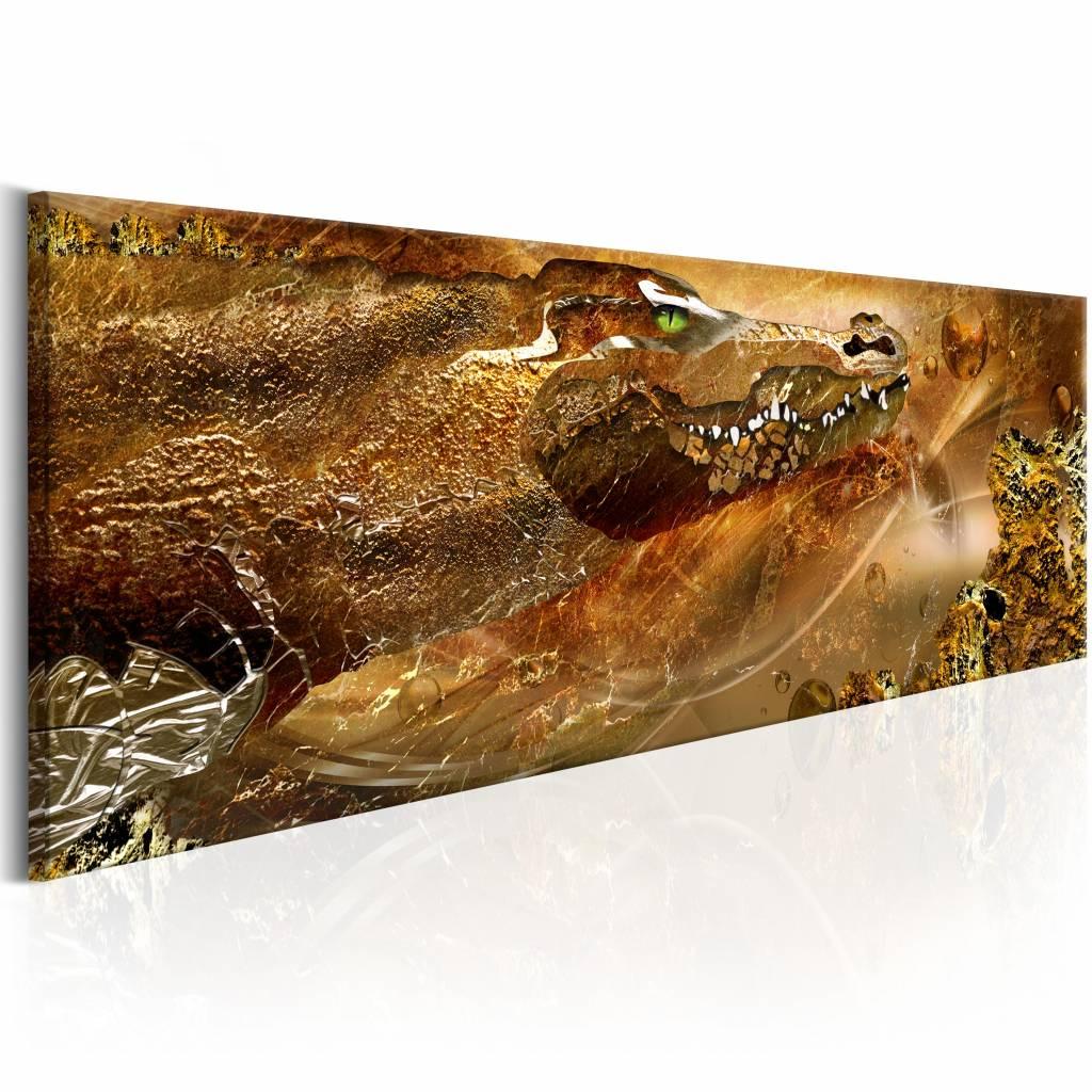 Schilderij - Gouden Krokodil 150X50 , goud look , 1 luik