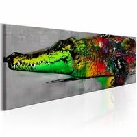 Schilderij - Groene Alligator , multi kleur