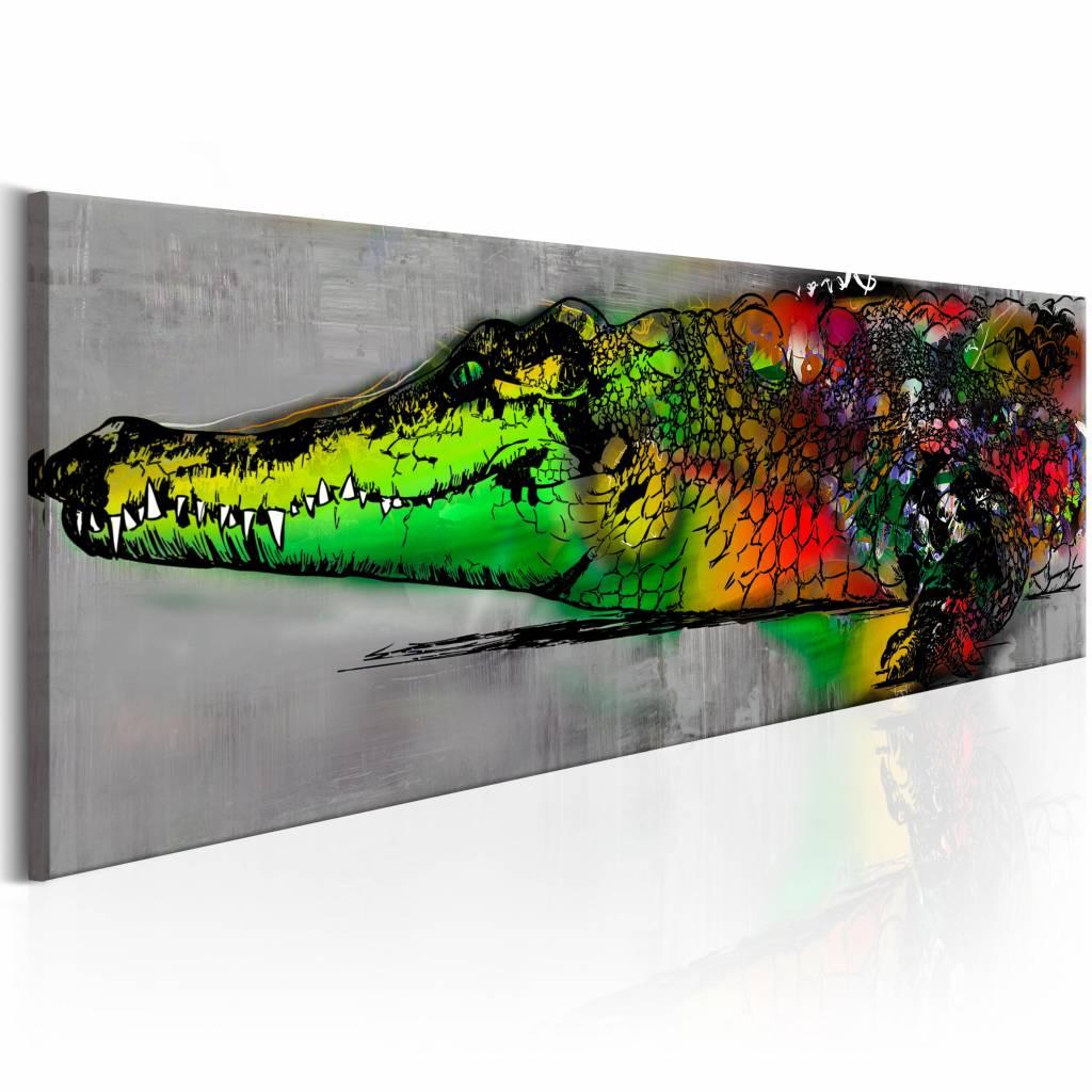 Schilderij - Groene Alligator 150X50 , multi kleur groen , 1 luik