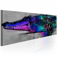 Schilderij - Blauwe Alligator 150X50 , blauw , multi kleur , 1 luik