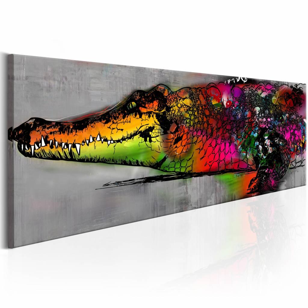 Schilderij - Gekleurde Alligator 150X50 , grijs multi kleur , 1 luik