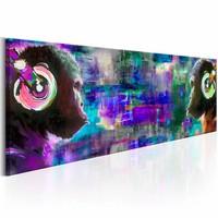 Schilderij - Apen met Koptelefoon 150X50cm , multi kleur blauw , 1 luik