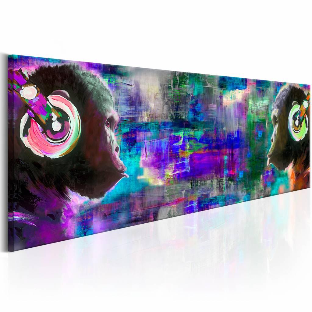 Schilderij - Apen met Koptelefoon 150X50 , multi kleur blauw , 1 luik