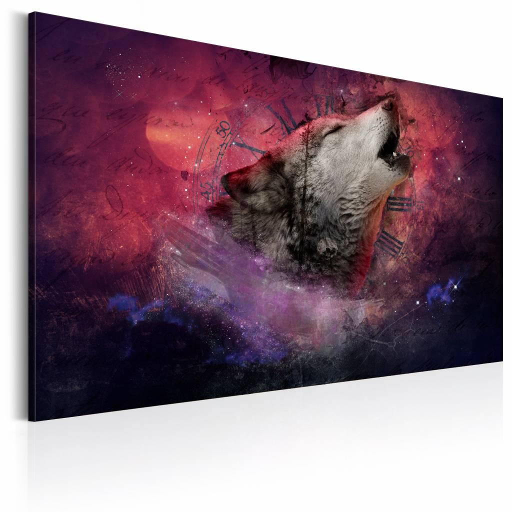 Schilderij Huilende Wolf, 1 deel, 2 maten rood/roze