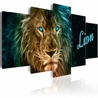 Schilderij - Lion, leeuw, met tekst, print op canvas, wanddecoratie, 5luik