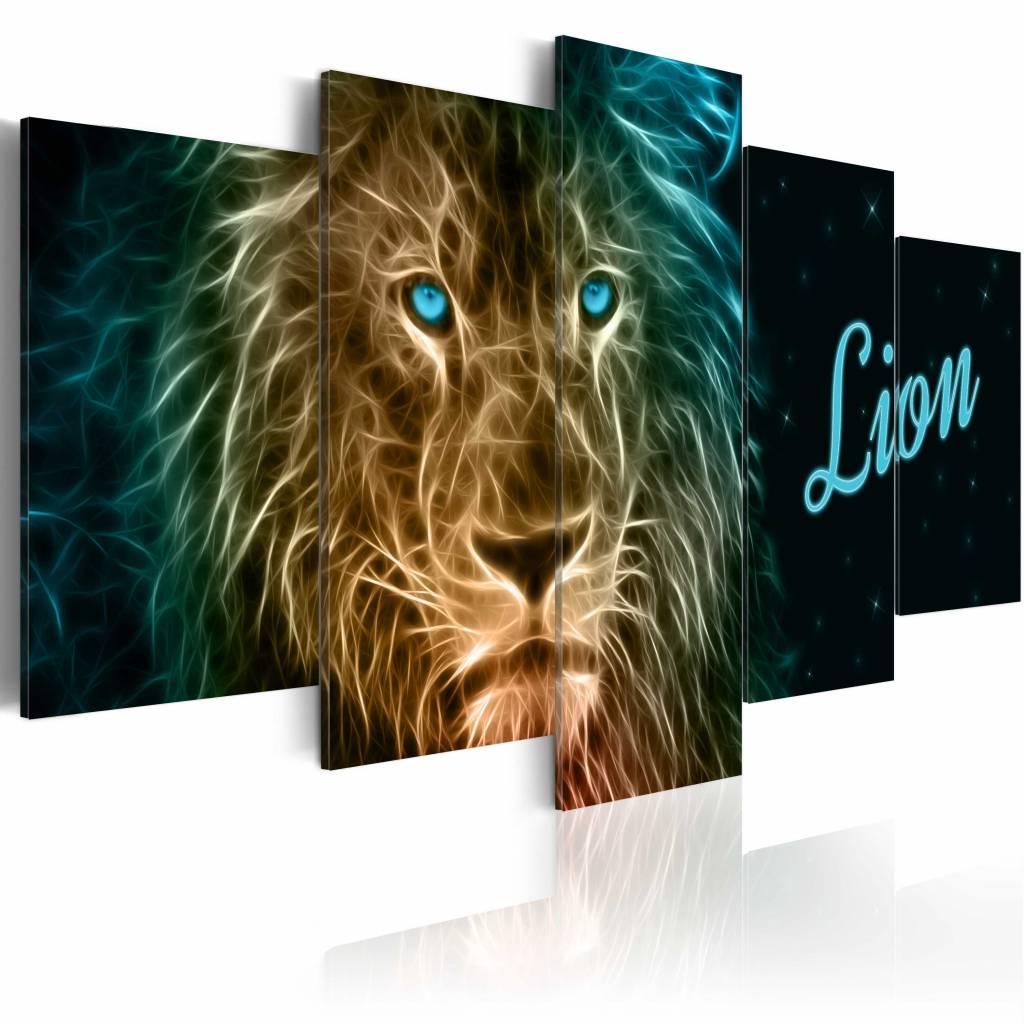 Schilderij - Lion, leeuw,5luik