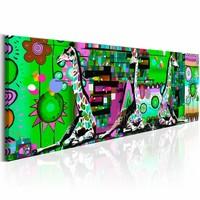 Schilderij - Wilde Koninkrijk 150X50 , multi kleur groen , 1 luik