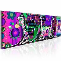 Schilderij - Gekleurde Giraffen 150X50 , paars multi kleur , 1 luik