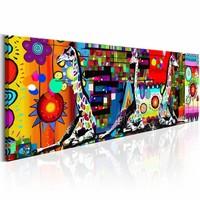 Schilderij - Kleurrijke Savanne 150X50 , multi kleur , 1 luik