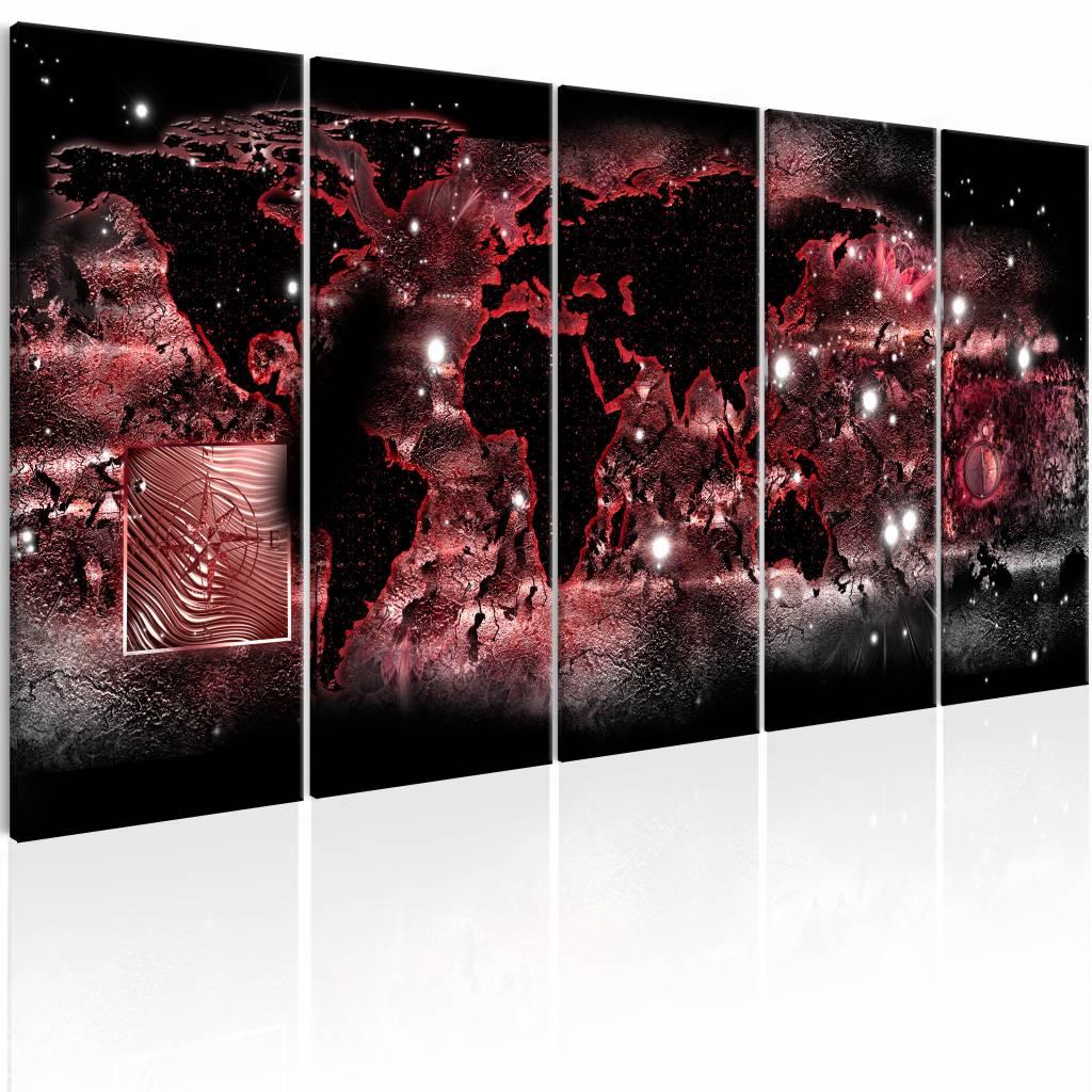 Schilderij - Rode lichten - Wereldkaart , zwart rood , 5 luik