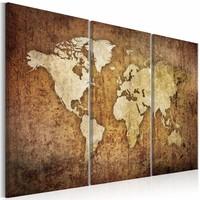 Schilderij - Bruine Textuur - Wereldkaart , beige bruin , 3 luik
