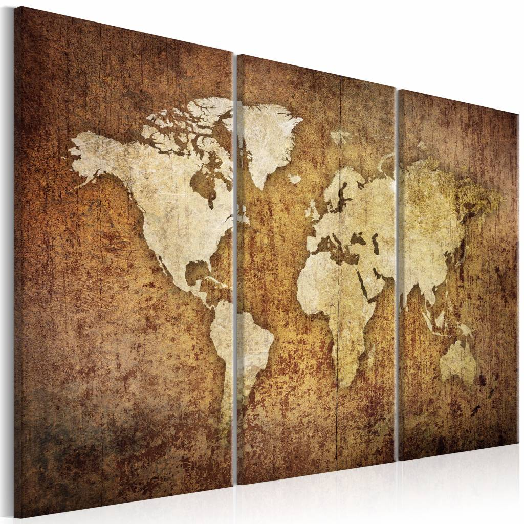 Schilderij - Bruine Textuur - Wereldkaart , beige bruin , 3 luik , 2 maten