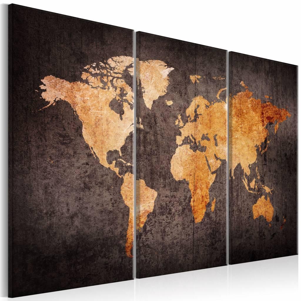 Schilderij - Kastanje Wereldkaart , bruin , 3 luik , 2 maten