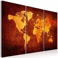 Schilderij - Oranje Wereld - Wereldkaart , 3 luik