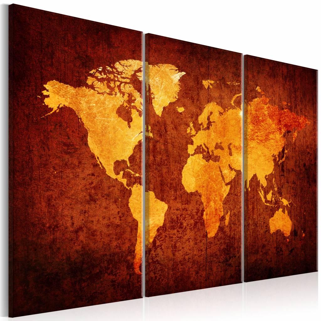 Schilderij - Oranje Wereld - Wereldkaart , 3 luik , 2 maten