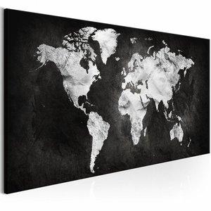 Schilderij - Wereld in Zwart/Wit - Wereldkaart ,  zwart wit , 1 luik