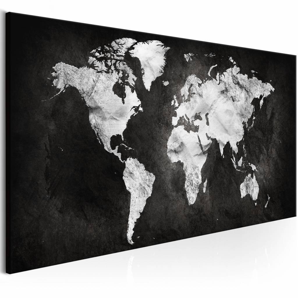Schilderij - Wereld in Zwart/Wit - Wereldkaart , zwart wit , 1 luik , 3 maten